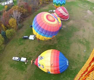 Flying over 5 balloons during inflation